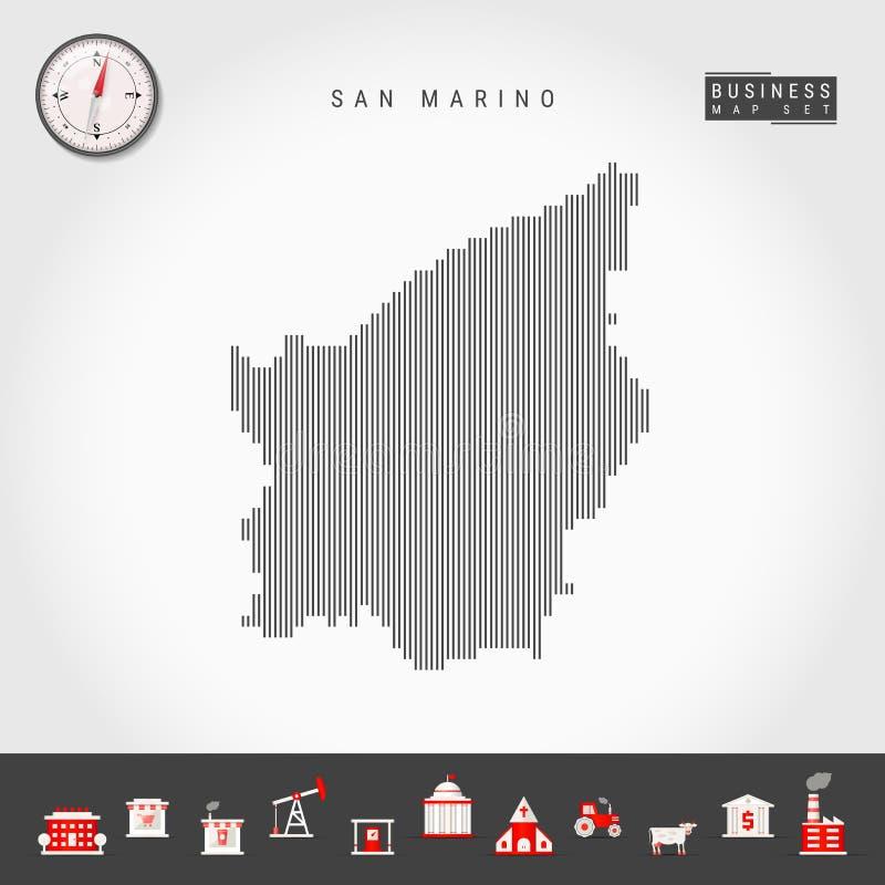 圣马力诺的传染媒介垂直线地图 圣马力诺的镶边剪影 现实指南针 r 皇族释放例证