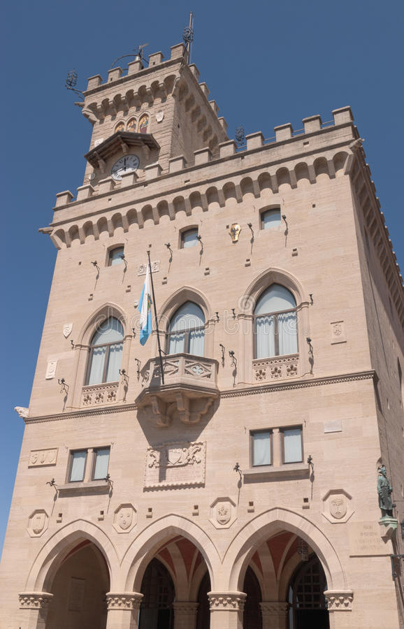 圣马力诺的城镇厅 库存图片