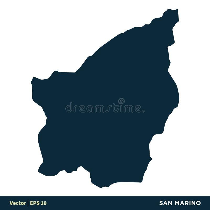 圣马力诺-欧洲国家映射传染媒介象模板例证设计 o 向量例证