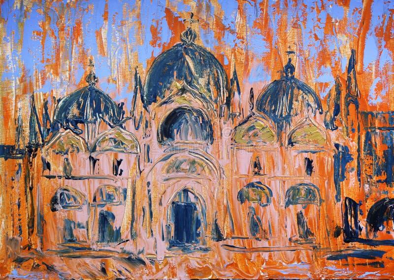 圣马尔谷教堂广场和教会的艺术绘画在威尼斯,意大利 库存例证
