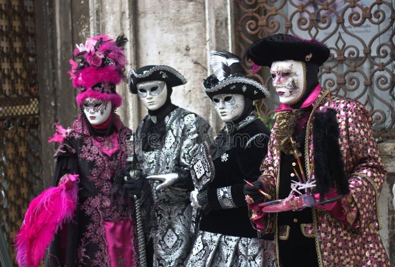 圣马尔谷教堂狂欢节的葡萄酒服装在威尼斯 图库摄影