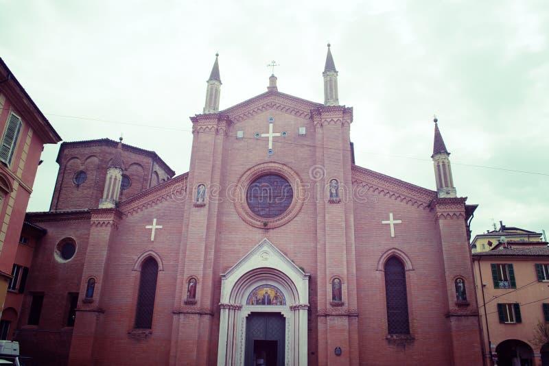 圣马蒂诺教会正面图在波隆纳 库存图片
