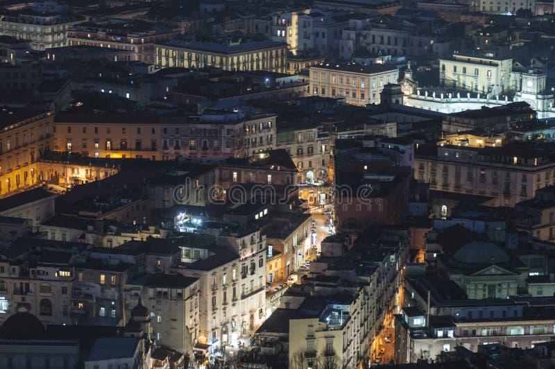 圣马蒂诺那不勒斯褶皱藻属意大利欧洲Charterhouse的夜视图  库存图片