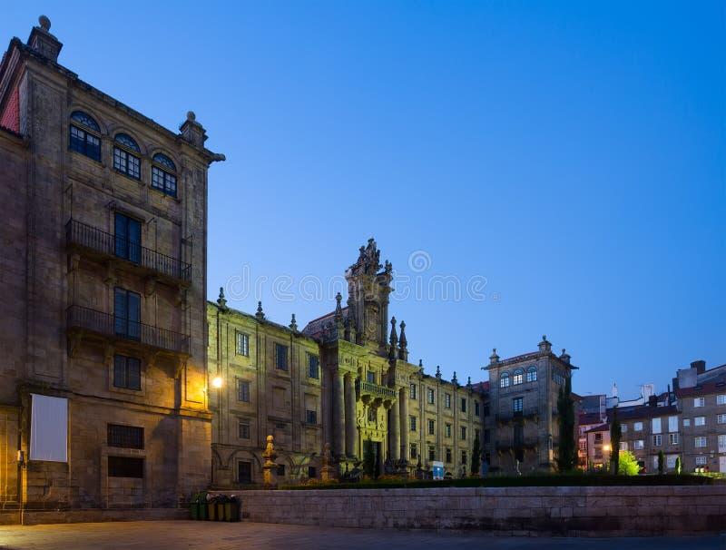 圣马蒂诺Pinario修道院在晚上 免版税图库摄影