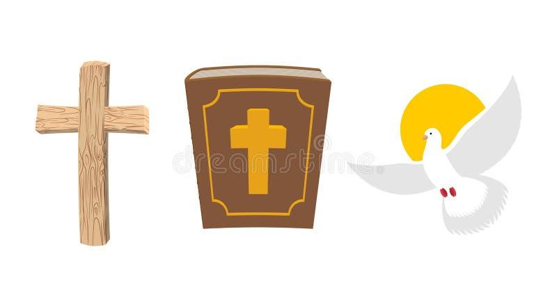 圣经、木十字架和白色鸠基督徒符号集 O 向量例证