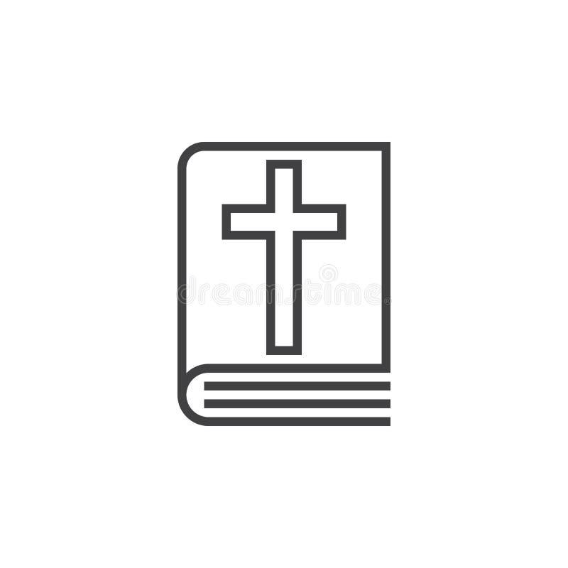圣经书线象,概述传染媒介标志,线性图表 库存例证