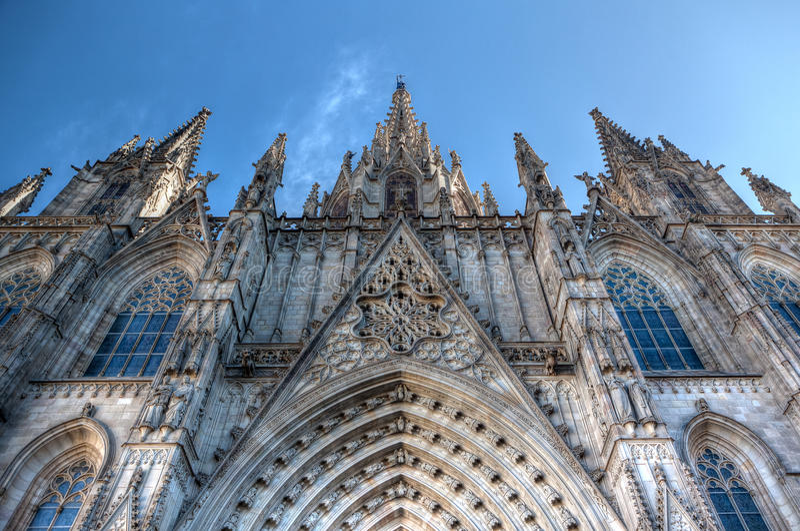 圣洁十字架和圣徒尤拉莉亚,巴塞罗那,西班牙的大教堂 图库摄影