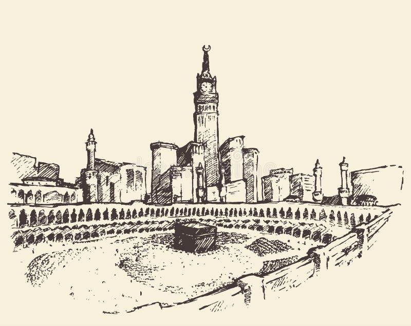 圣洁圣堂麦加沙特阿拉伯穆斯林剪影 向量例证