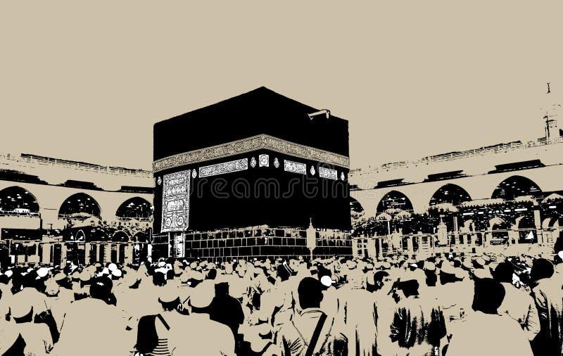 圣洁圣堂, Makkah,沙特阿拉伯剪影  库存例证