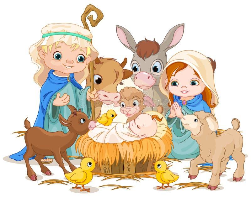 圣洁家庭在圣诞夜里 向量例证