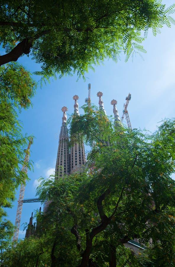 圣洁家庭的大教堂在巴塞罗那 免版税图库摄影