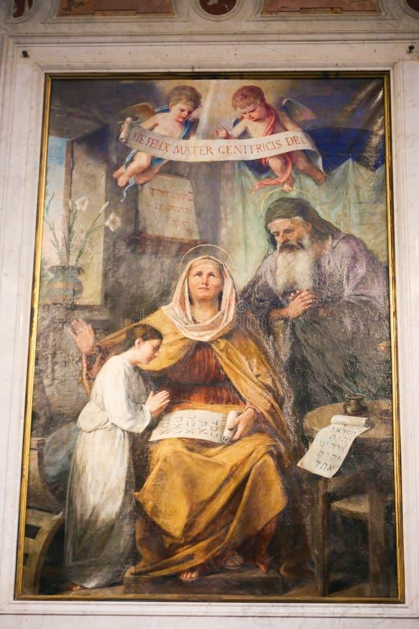 圣洁家庭-在大教堂,罗马的绘画 免版税库存照片