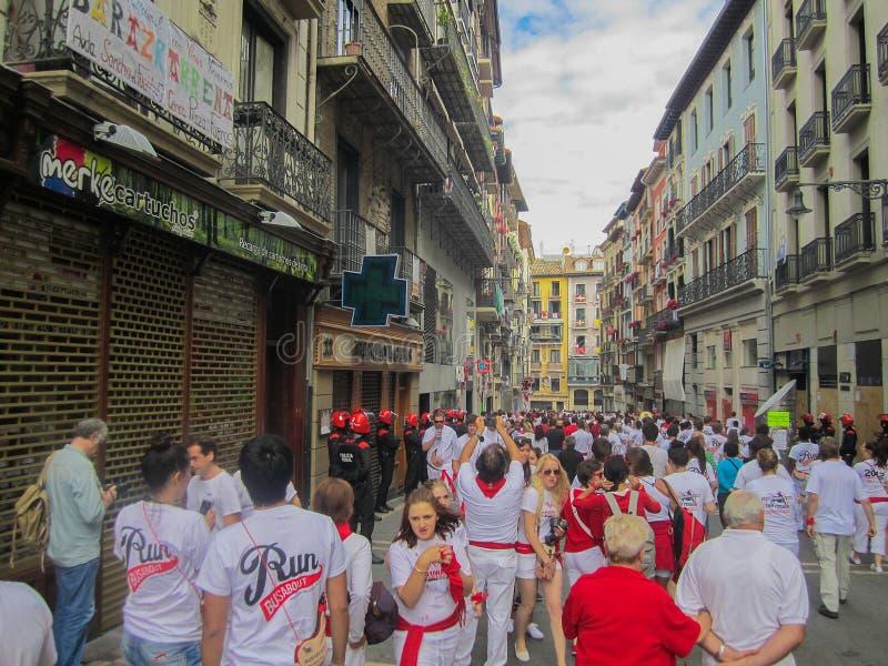 圣费尔明节日,潘普洛纳,西班牙 免版税库存照片