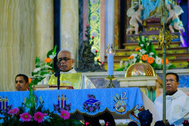 圣洁星期四在史特拉Maris卡默利特平纹薄呢修道院里,海法 免版税图库摄影
