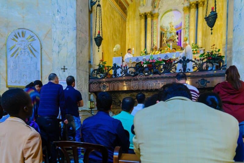 圣洁星期四在史特拉Maris卡默利特平纹薄呢修道院里,海法 免版税库存图片