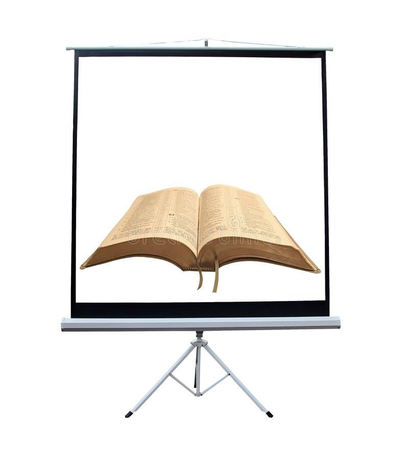 圣经演讲放映机屏幕 免版税库存照片