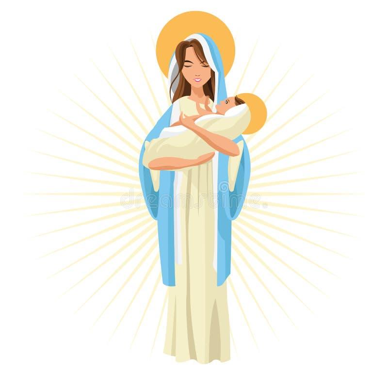 圣洁玛丽小耶稣象 背景装饰图象风格化漩涡向量挥动 库存例证
