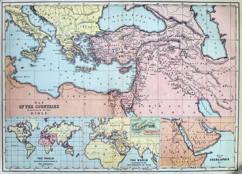 圣经的国家古色古香的地图  图库摄影