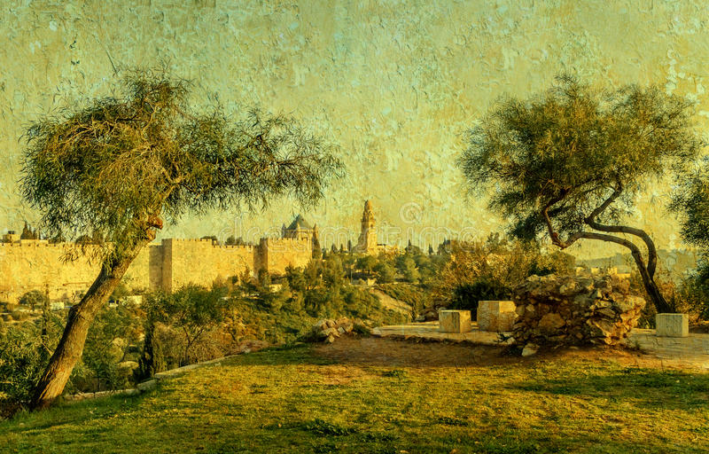 圣经的小山小山临近老耶路撒冷 库存图片