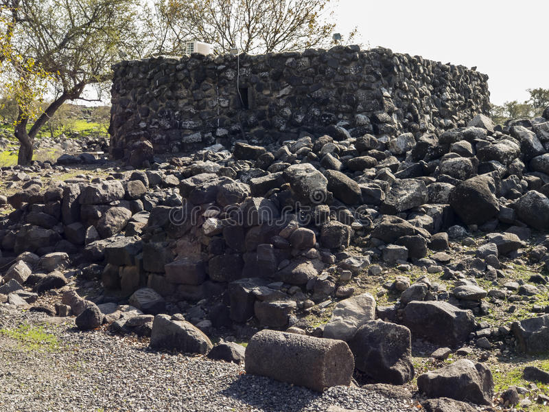 圣经的市的考古学站点Korazim在以色列 图库摄影