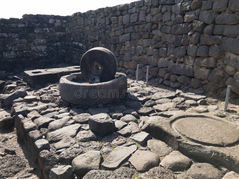 圣经的市的考古学站点Korazim在以色列 库存照片