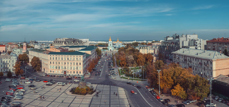 圣索菲娅大教堂看法索菲娅广场的 基辅,乌克兰 免版税库存照片