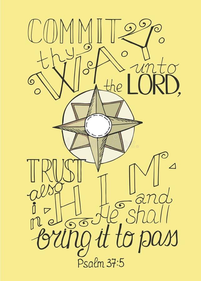 圣经诗歌承诺给阁下thy方式,并且在他和他的信任将做 皇族释放例证