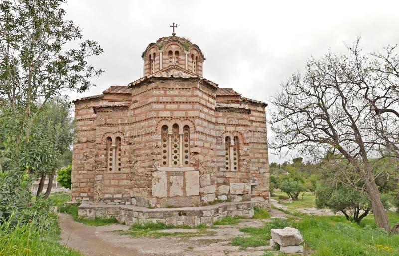 圣洁集市古老传道者雅典的教会 免版税图库摄影