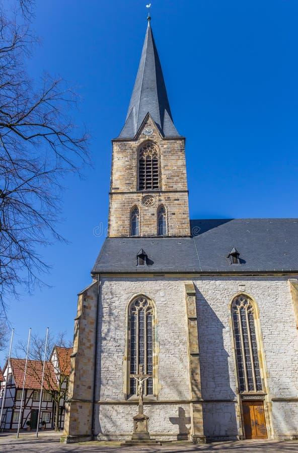 圣Christophorus教会的塔在韦尔内 库存图片