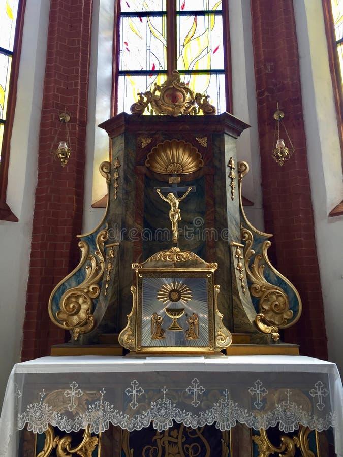 圣Elizabeth&#x27内部;s教会,天主教徒第三次圣弗朗西斯是一个哥特式教会在弗罗茨瓦夫,波兰 免版税图库摄影