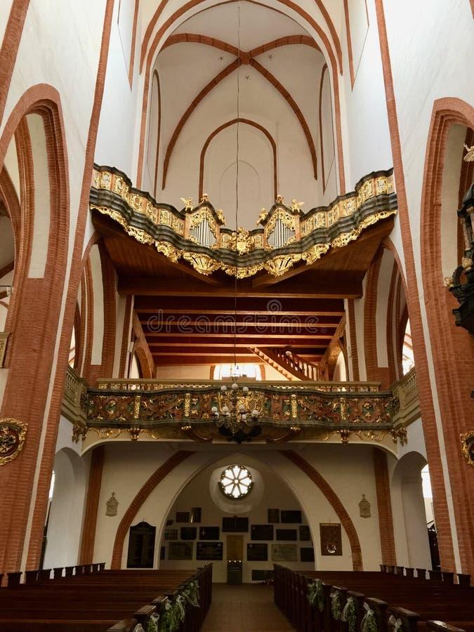圣Elizabeth& x27内部;s教会,天主教徒第三次圣弗朗西斯是一个哥特式教会在弗罗茨瓦夫,波兰 图库摄影