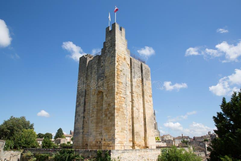 圣Emilion在红葡萄酒国王城堡附近法国塔的酒村庄  免版税库存图片