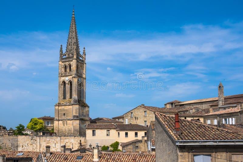 圣Emilion,吉伦特省,阿基旃,法国教会  免版税库存图片