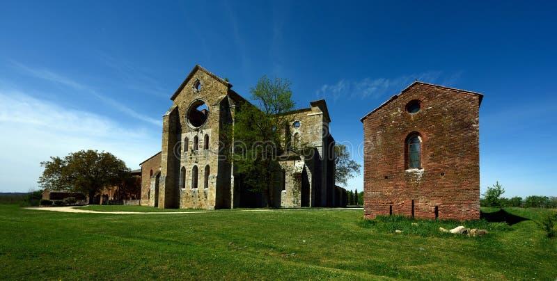 圣Galgano,托斯卡纳,意大利修道院  免版税图库摄影