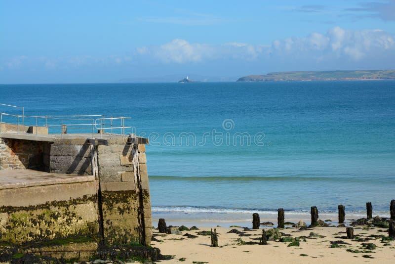 圣Ives海滩和海湾,康沃尔郡,英国 免版税库存图片