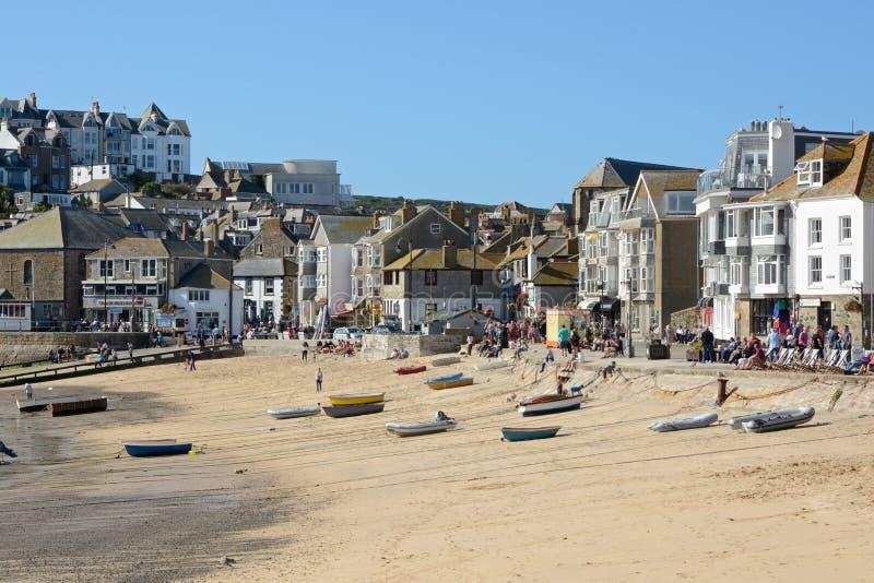 圣Ives海滩和镇,康沃尔郡,英国 免版税图库摄影