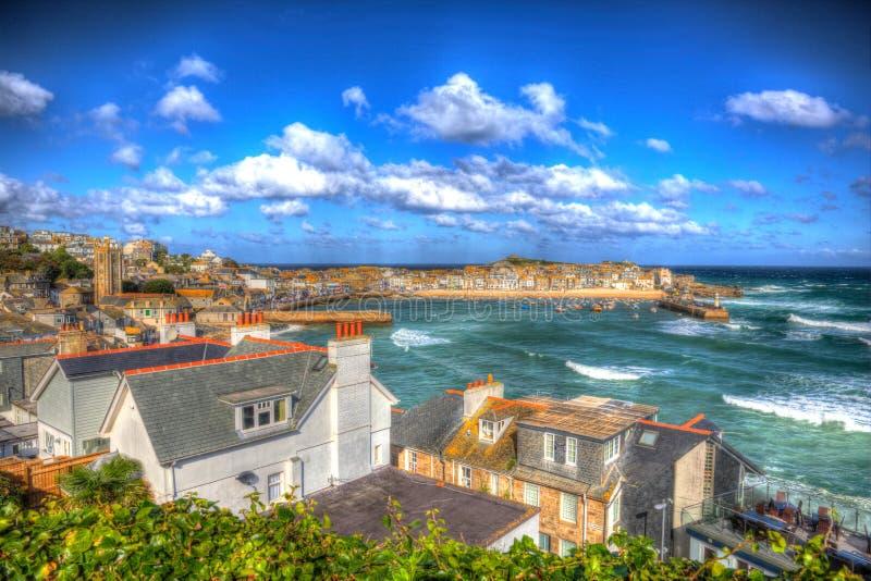 圣Ives港口康沃尔郡英国英国蓝色海和天空在五颜六色的HDR 库存照片