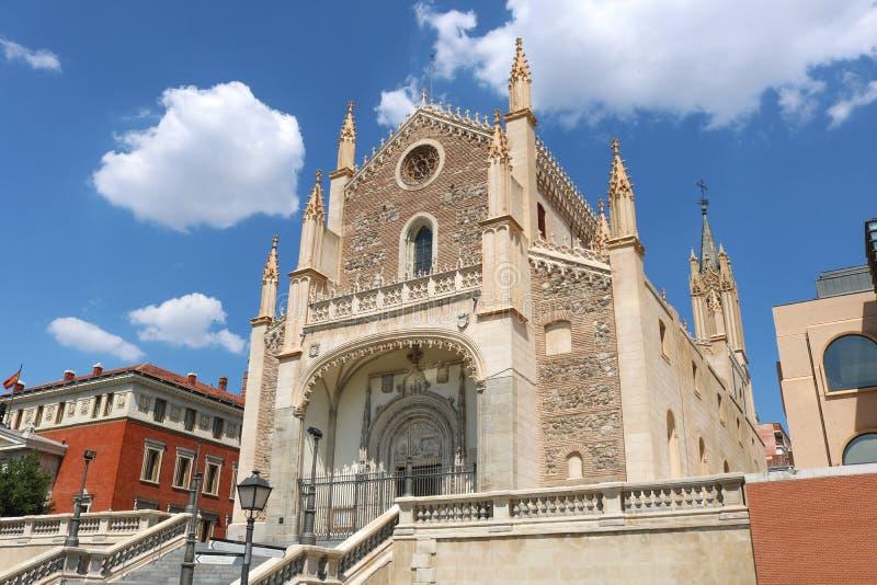 圣Jerà ³ nimo el真正的教会在马德里 射击在2018年7月 免版税库存图片
