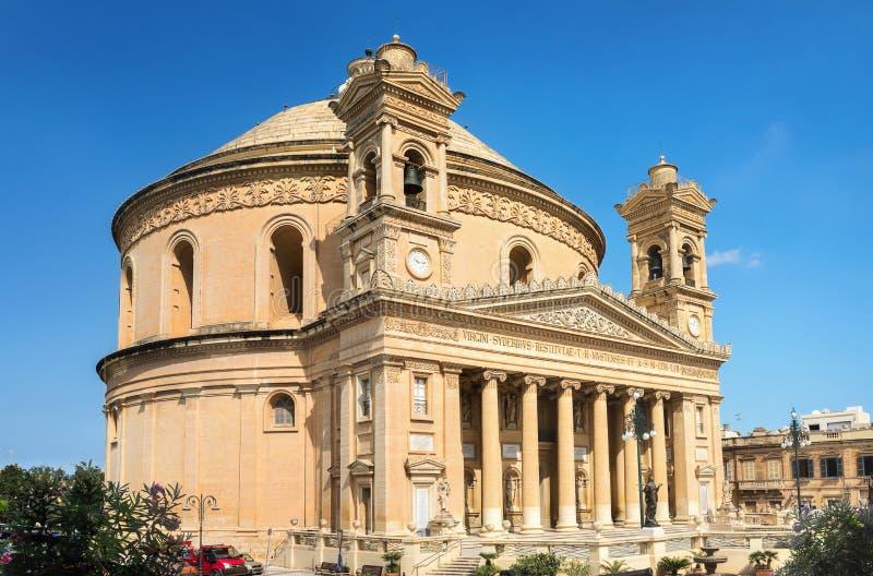 圣Marija Assunta著名教会在莫斯塔或圆形建筑莫斯塔 库存照片