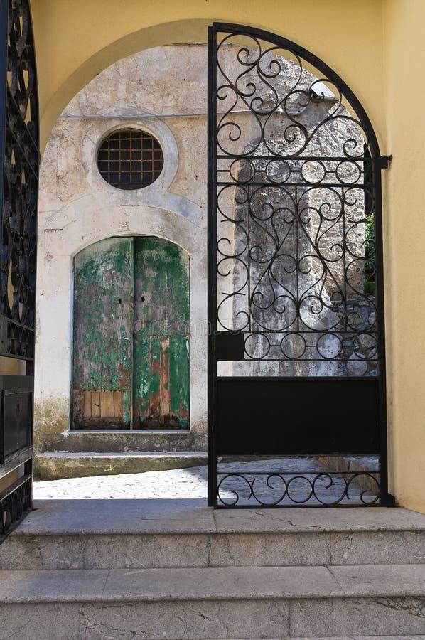 圣Nicola教会在Plateis。斯卡莱亚。卡拉布里亚。意大利。 免版税库存照片