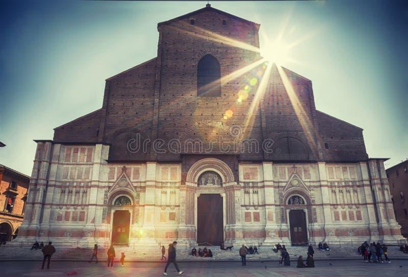 圣Petronio,广场Maggiore大教堂,在波隆纳 免版税库存照片