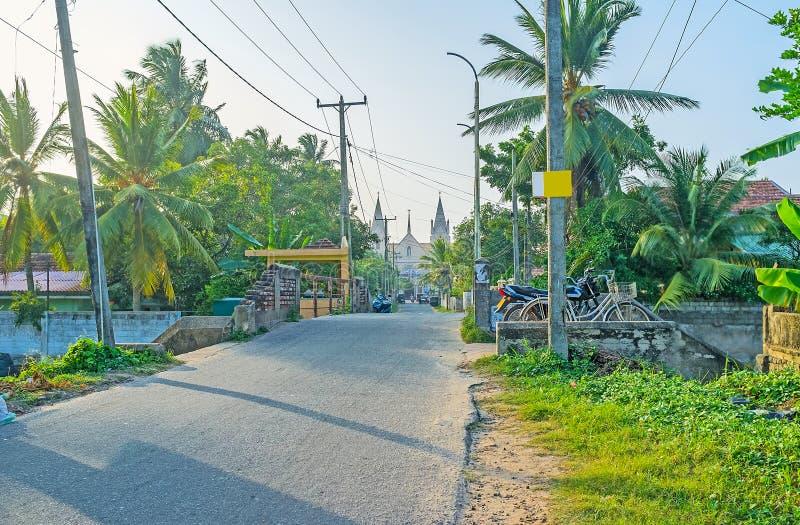 圣Sebastian路在Negombo 免版税图库摄影