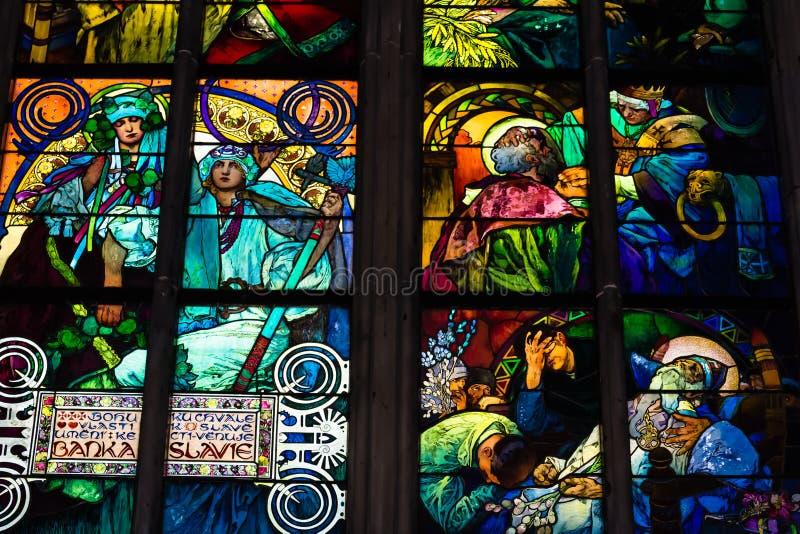 圣Vitus大教堂标签在布拉格 库存照片