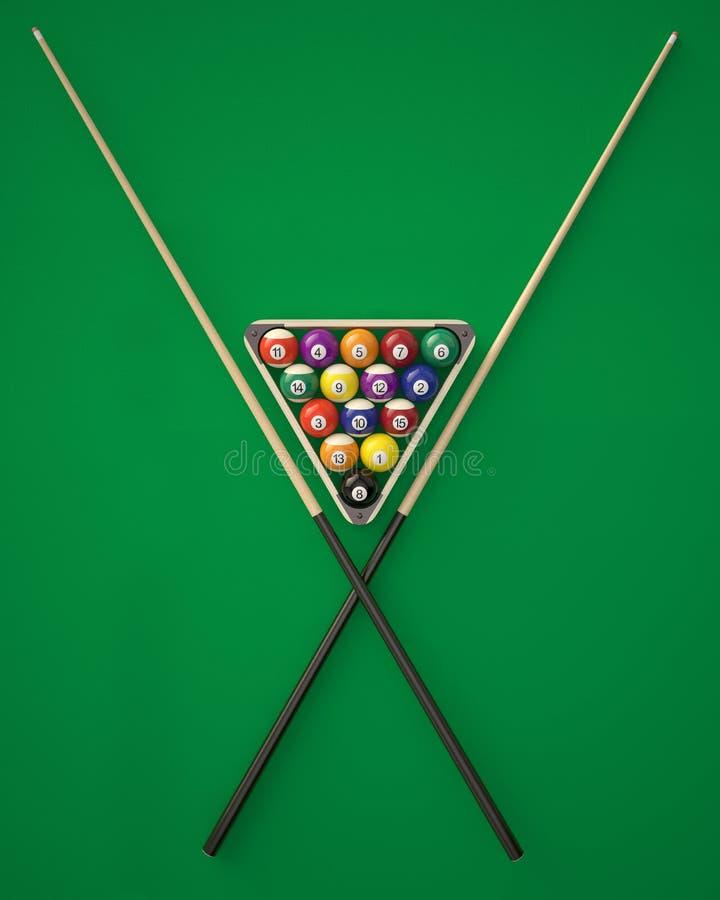 在一个三角的撞球与在绿色台球台上的暗示 皇族释放例证