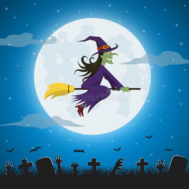 在一个不可思议的帚柄的巫婆飞行反对满月 向量例证