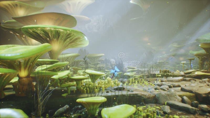 在一个不可思议的森林美丽的不可思议的蘑菇在失去的森林里和萤火虫的幻想蘑菇在背景与 向量例证