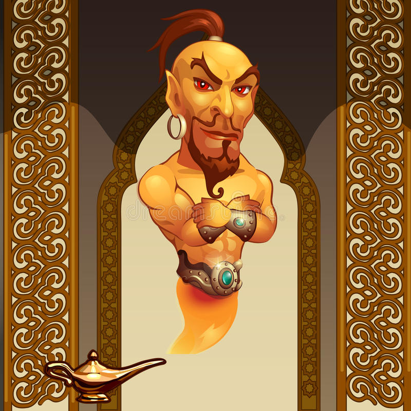 在一个不可思议的灯和阿拉伯人样式的灵魔 皇族释放例证