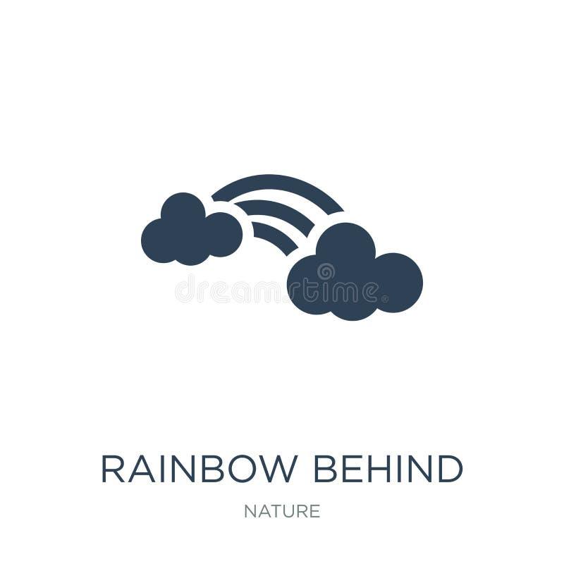 在一个云彩象后的彩虹在时髦设计样式 在白色背景隔绝的云彩象后的彩虹 在a后的彩虹 皇族释放例证