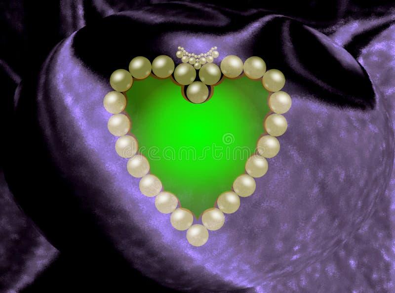 在一个五颜六色的光亮的织品基地计算机生成的图象设计的美丽的珍珠装饰品 皇族释放例证
