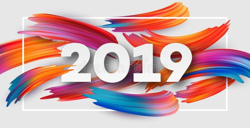 一个性色_在一个五颜六色的绘画的技巧油或丙烯酸漆设计元素的背景的2019个新年